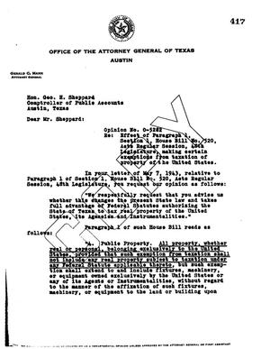 Primary view of object titled 'Texas Attorney General Opinion: O-5282'.