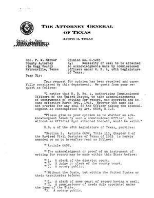 Primary view of object titled 'Texas Attorney General Opinion: O-5285'.