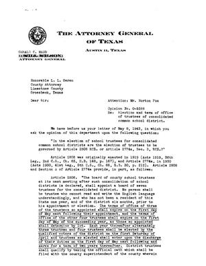 Primary view of object titled 'Texas Attorney General Opinion: O-5288'.