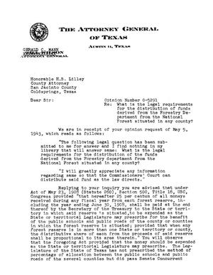 Primary view of object titled 'Texas Attorney General Opinion: O-5291'.