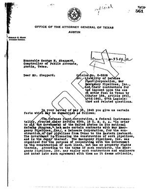 Primary view of object titled 'Texas Attorney General Opinion: O-5309'.