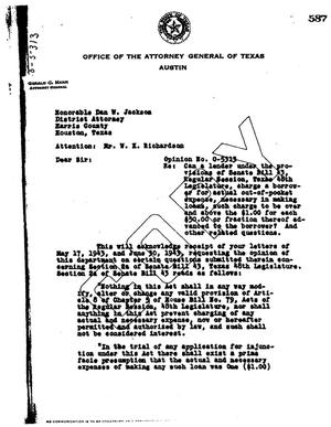 Primary view of object titled 'Texas Attorney General Opinion: O-5313'.