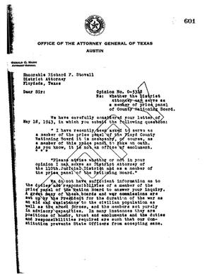 Primary view of object titled 'Texas Attorney General Opinion: O-5318'.