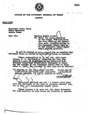 Primary view of object titled 'Texas Attorney General Opinion: O-5319'.