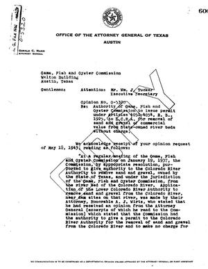Primary view of object titled 'Texas Attorney General Opinion: O-5320'.