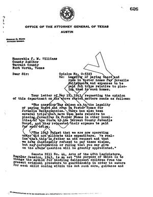Primary view of object titled 'Texas Attorney General Opinion: O-5323'.