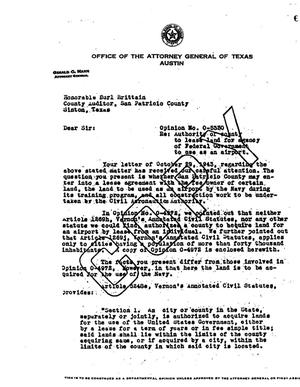 Primary view of object titled 'Texas Attorney General Opinion: O-5330'.