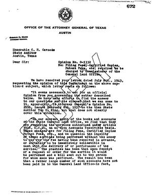 Primary view of object titled 'Texas Attorney General Opinion: O-5332'.