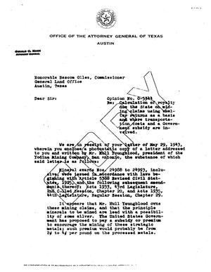 Primary view of object titled 'Texas Attorney General Opinion: O-5344'.