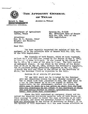 Primary view of object titled 'Texas Attorney General Opinion: O-5350'.