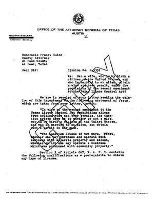 Primary view of object titled 'Texas Attorney General Opinion: O-5351'.