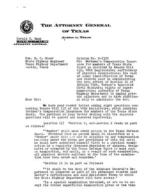 Primary view of object titled 'Texas Attorney General Opinion: O-5355'.