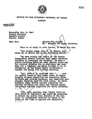 Primary view of object titled 'Texas Attorney General Opinion: O-5359'.