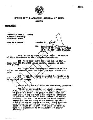 Primary view of object titled 'Texas Attorney General Opinion: O-5364'.
