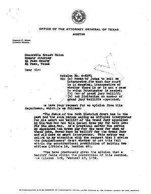 Primary view of object titled 'Texas Attorney General Opinion: O-5371'.