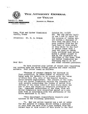 Primary view of object titled 'Texas Attorney General Opinion: O-5372'.