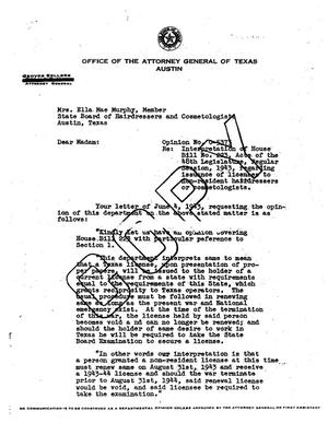 Primary view of object titled 'Texas Attorney General Opinion: O-5373'.