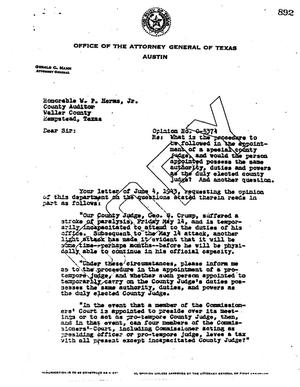 Primary view of object titled 'Texas Attorney General Opinion: O-5374'.