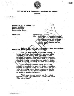 Primary view of object titled 'Texas Attorney General Opinion: O-5375'.