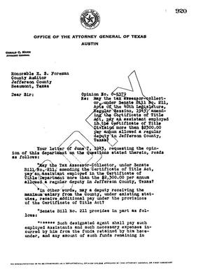 Primary view of object titled 'Texas Attorney General Opinion: O-5379'.