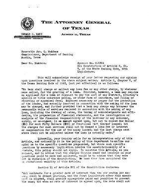 Primary view of object titled 'Texas Attorney General Opinion: O-5384'.