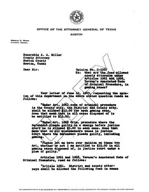 Primary view of object titled 'Texas Attorney General Opinion: O-5387'.