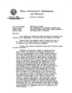 Primary view of object titled 'Texas Attorney General Opinion: O-5388'.
