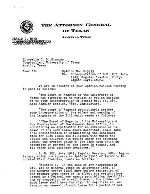 Primary view of object titled 'Texas Attorney General Opinion: O-5393'.