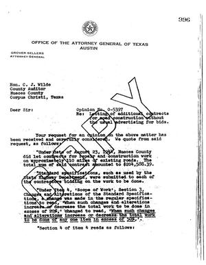 Primary view of object titled 'Texas Attorney General Opinion: O-5397'.
