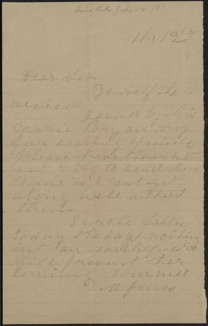 Primary view of object titled 'Letter to Cromwell Anson Jones, [12 July 1881]'.