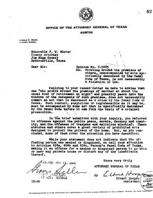 Primary view of object titled 'Texas Attorney General Opinion: O-5485'.