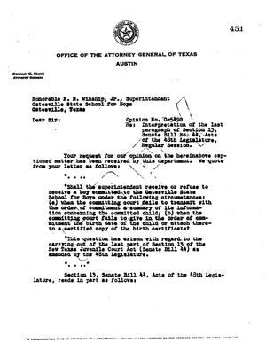 Primary view of object titled 'Texas Attorney General Opinion: O-5490'.