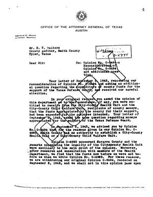 Primary view of object titled 'Texas Attorney General Opinion: O-5494A'.