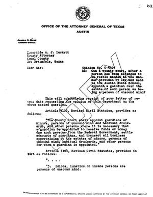 Primary view of object titled 'Texas Attorney General Opinion: O-5504'.