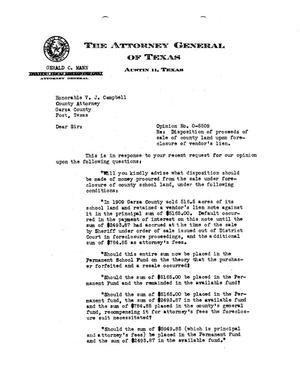 Primary view of object titled 'Texas Attorney General Opinion: O-5509'.