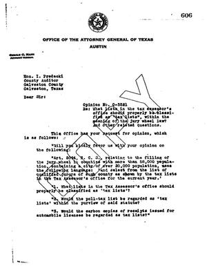 Primary view of object titled 'Texas Attorney General Opinion: O-5521'.