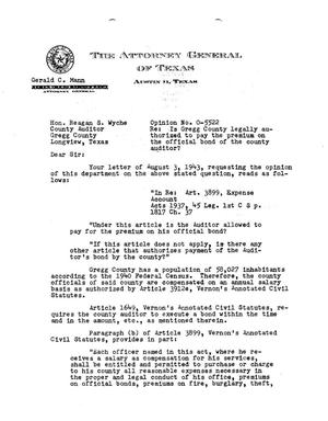 Primary view of object titled 'Texas Attorney General Opinion: O-5522'.