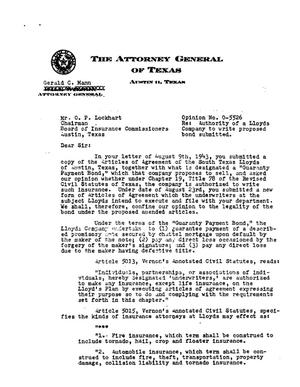 Primary view of object titled 'Texas Attorney General Opinion: O-5526'.