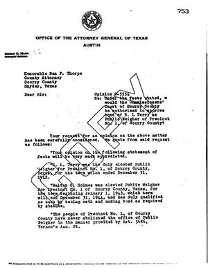 Primary view of object titled 'Texas Attorney General Opinion: O-5554'.