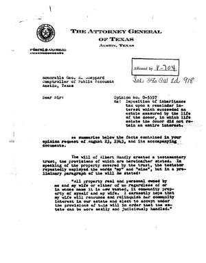 Primary view of object titled 'Texas Attorney General Opinion: O-5557'.