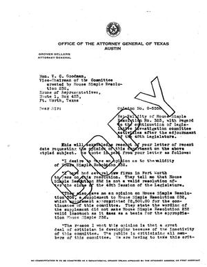 Primary view of object titled 'Texas Attorney General Opinion: O-5558'.