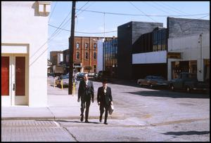 Primary view of object titled '[Mr. Barry and Mr. Pryor in Downtown Palestine]'.