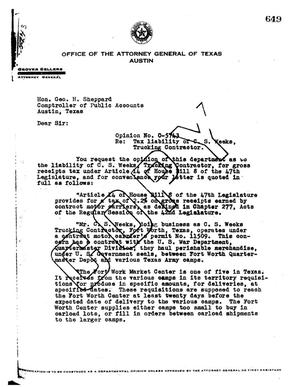 Primary view of object titled 'Texas Attorney General Opinion: O-5743'.