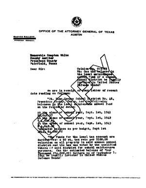 Primary view of object titled 'Texas Attorney General Opinion: O-5785'.