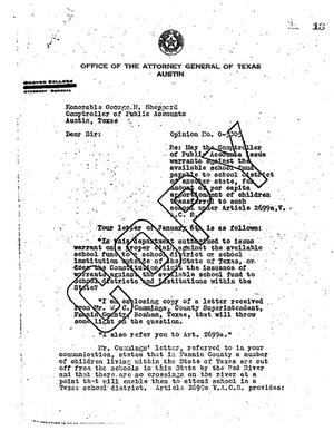 Primary view of object titled 'Texas Attorney General Opinion: O-5805'.