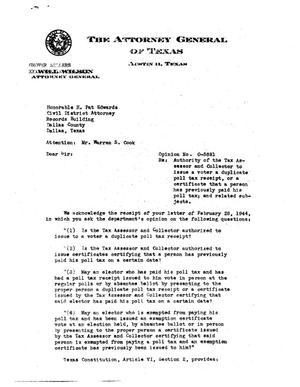 Primary view of object titled 'Texas Attorney General Opinion: O-5881'.