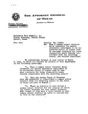 Primary view of object titled 'Texas Attorney General Opinion: O-5911'.