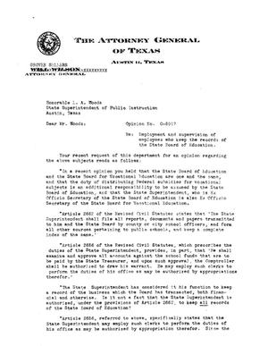Primary view of object titled 'Texas Attorney General Opinion: O-5917'.