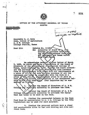 Primary view of object titled 'Texas Attorney General Opinion: O-5918'.