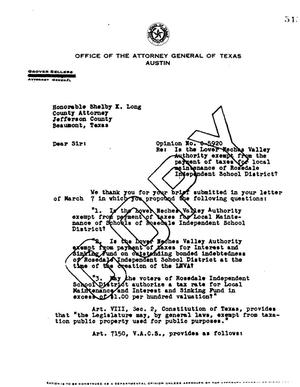 Primary view of object titled 'Texas Attorney General Opinion: O-5920'.